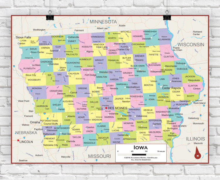 Iowa State Political Wall Map