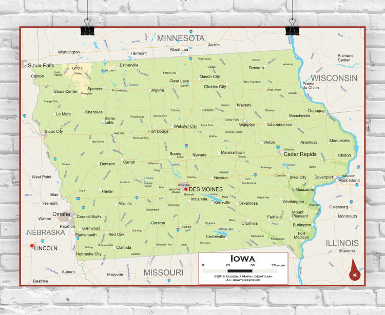 Iowa Physical State Wall Map