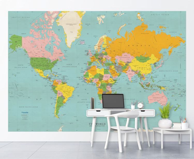 Classic Colors World Political Map Wall Mural - Peel & Stick Removable Wallpaper