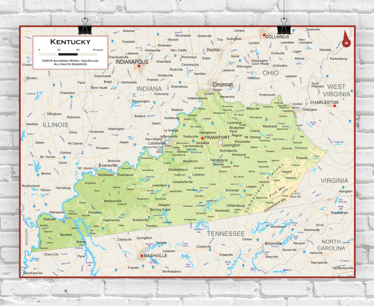 Kentucky Physical State Wall Map