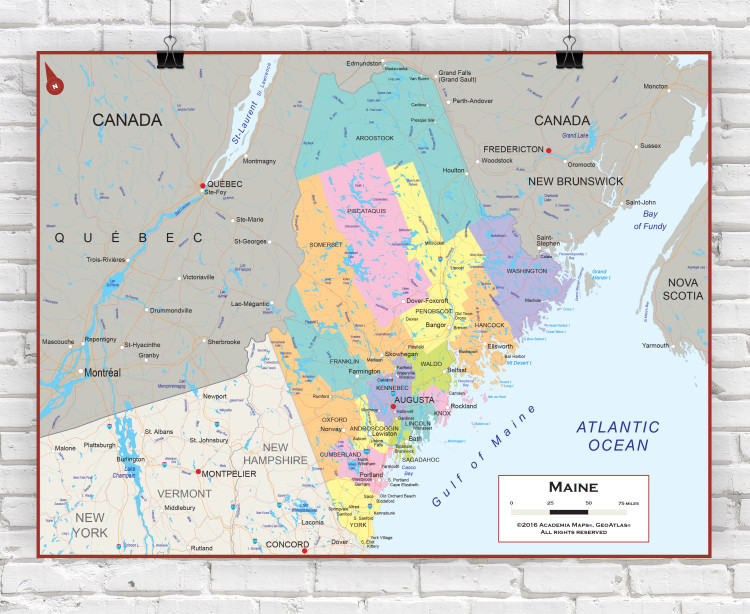 Maine Political State Wall Map