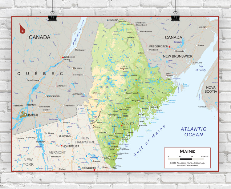 Maine Physical State Wall Map
