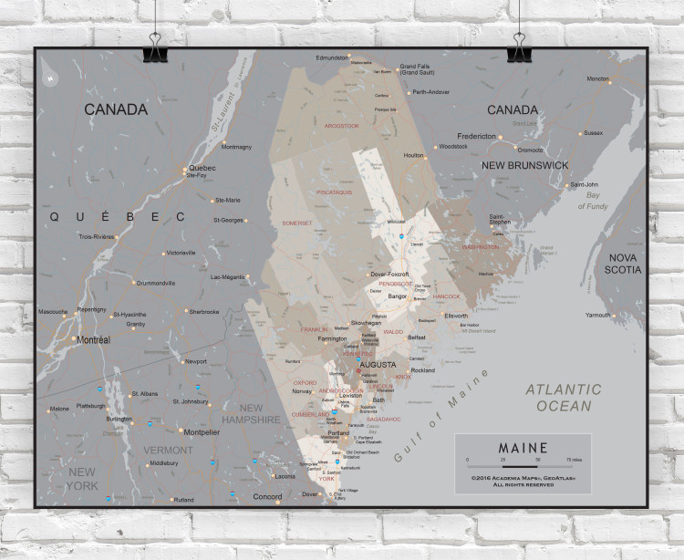 Maine Executive State Wall Map