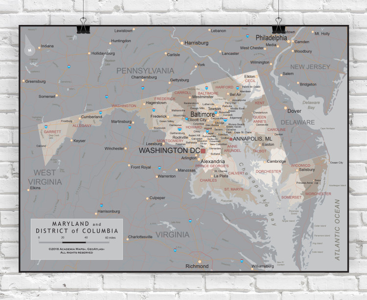 Maryland Executive State Wall Map