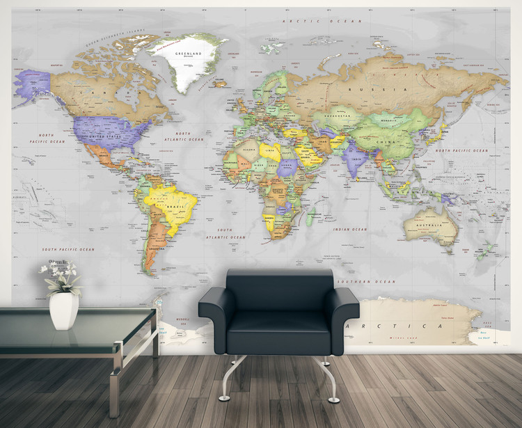 Simple Gray Oceans World Political Map Wall Mural - Removable Wallpaper