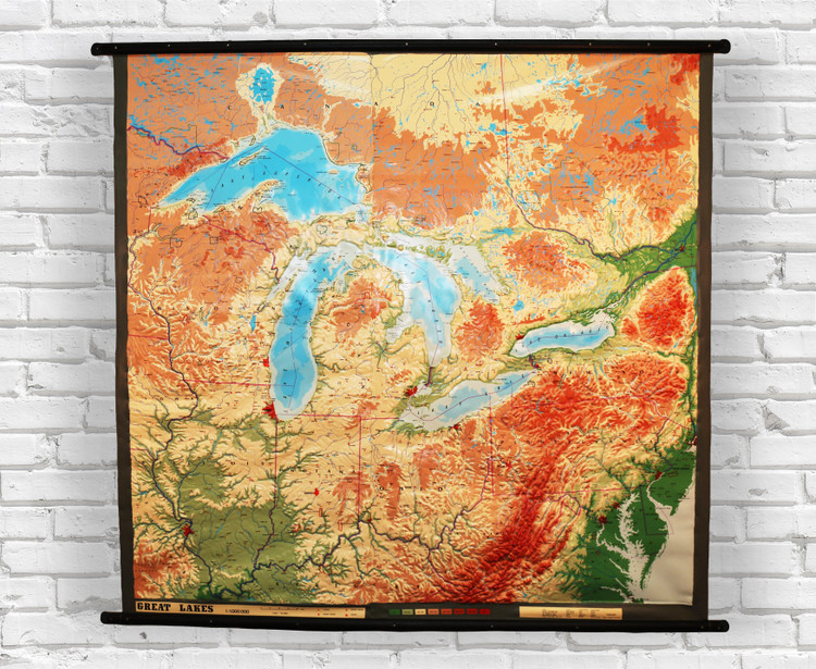 Great Lakes Region Large Extreme Raised Relief Map