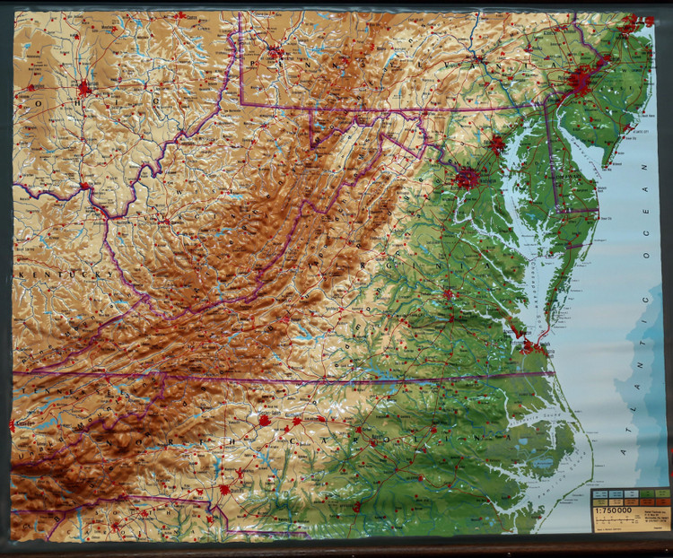 Mid-Atlantic United States Large Extreme Raised Relief Map