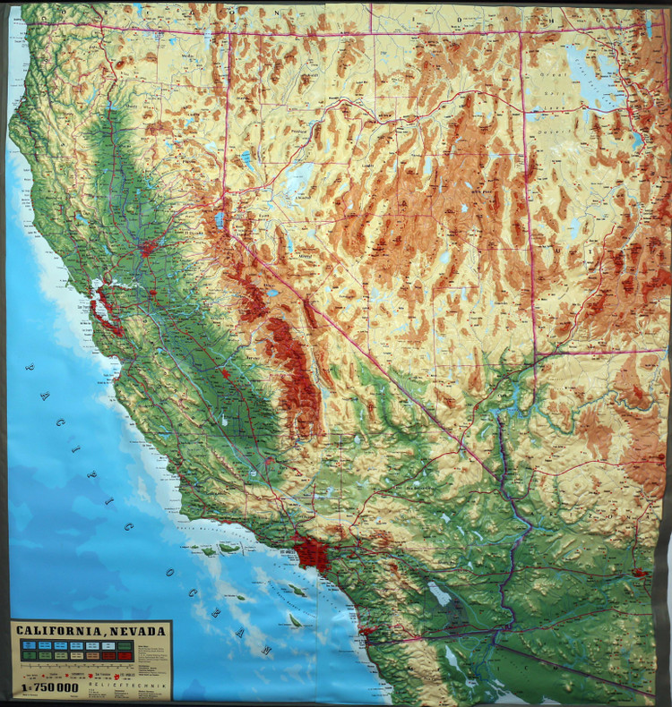 California & Nevada Large Extreme Raised Relief Map