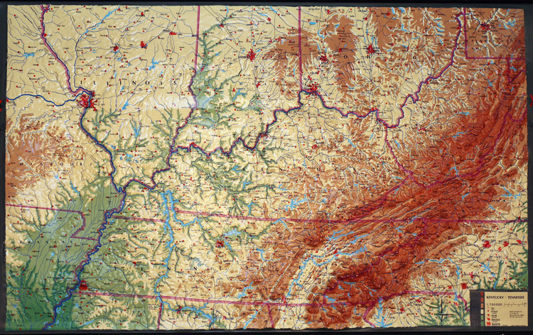 Kentucky & Tennessee Large Extreme Raised Relief Map