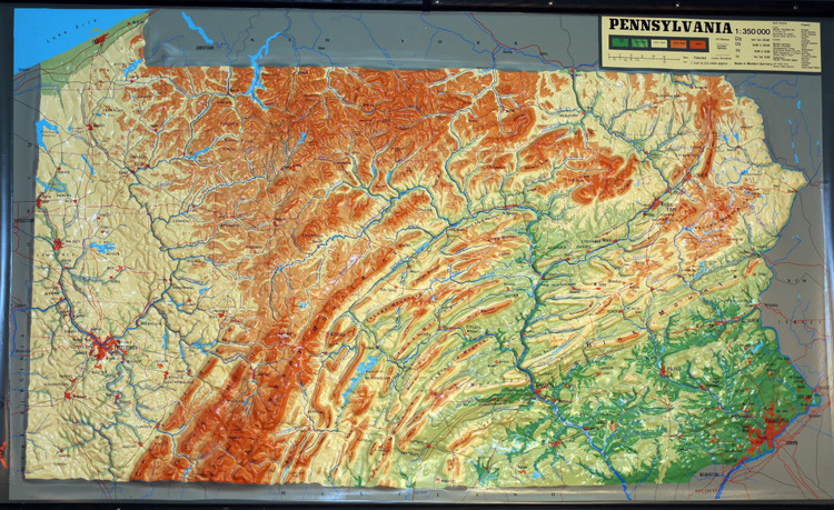 Pennsylvania Large Extreme Raised Relief Map