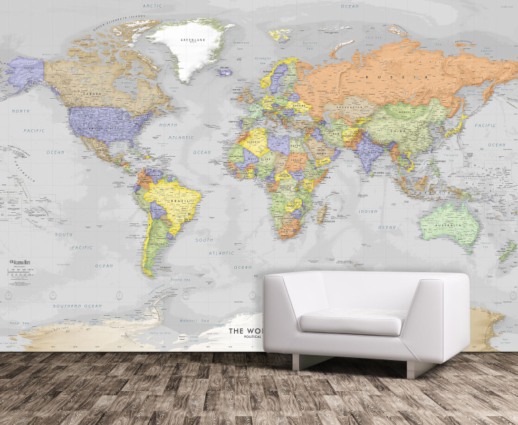 Detailed Gray Oceans World Political Map Mural - Removable Wallpaper