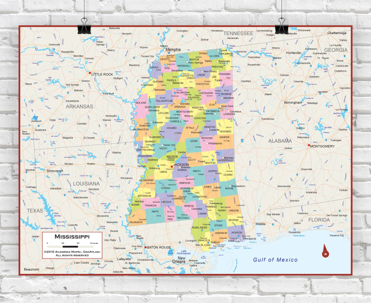 Mississippi Political State Wall Map