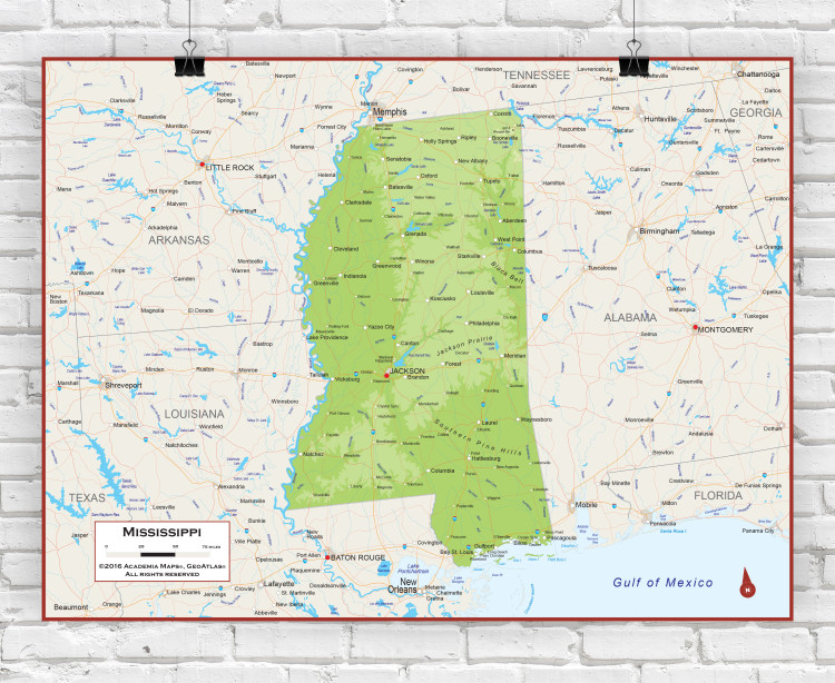 Mississippi Physical State Wall Map