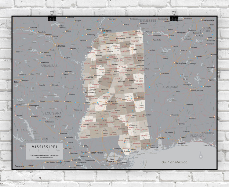Mississippi Executive State Wall Map