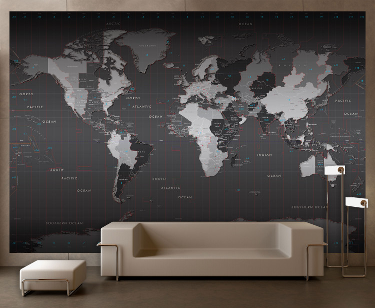 World Time Zones Wall Map Mural - Removable Wallpaper