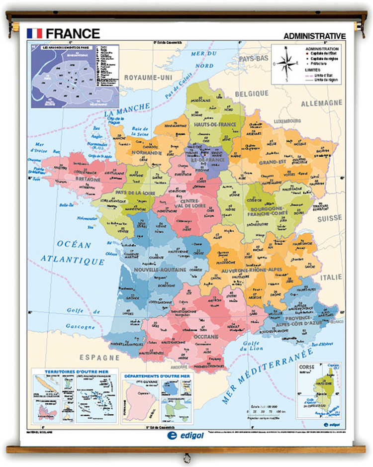 French Language Physical/Political Map of France on Spring Roller