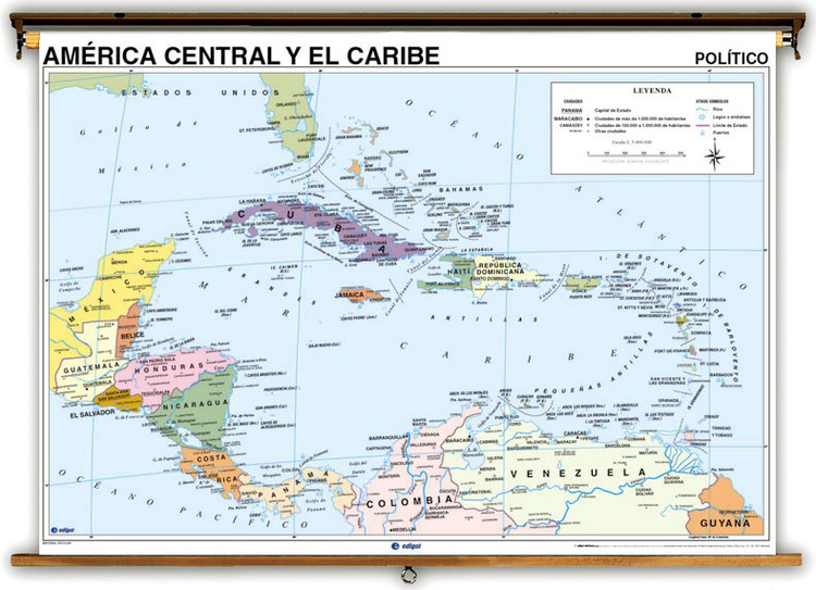 Spanish Language Central America & Caribbean Physical/Political