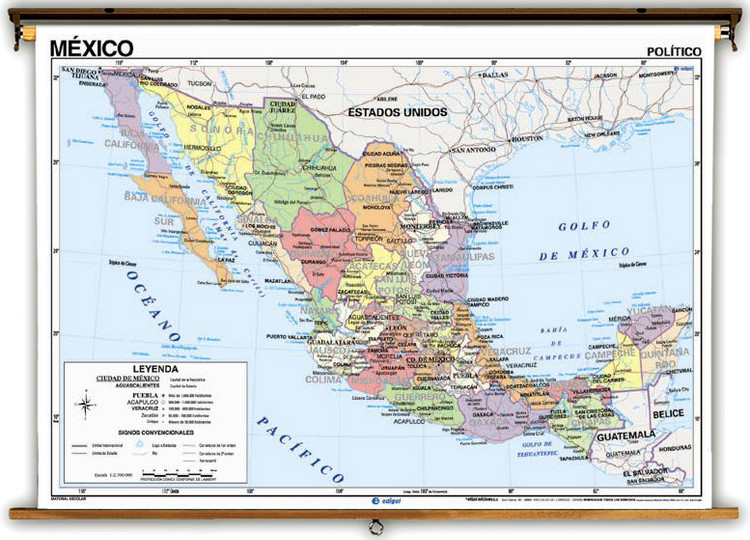 Spanish Language Mexico Physical/Political Map on Spring Roller