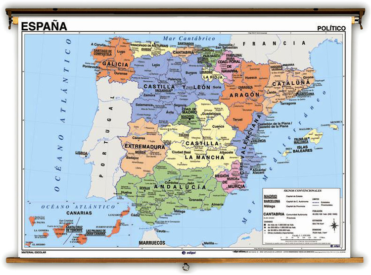 Spanish Language Spain Physical/Political Map on Spring Roller
