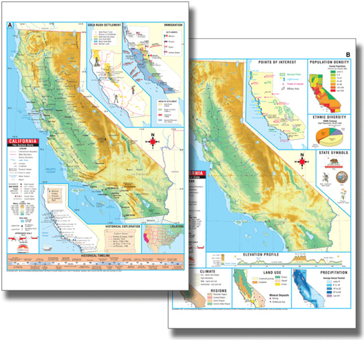 California Thematic Deskpad Map from Kappa Maps