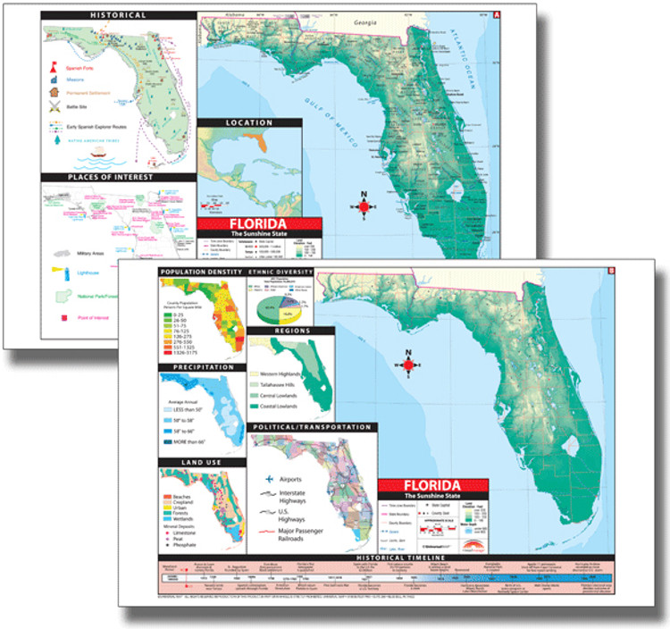 Florida Thematic Deskpad Map from Kappa Maps