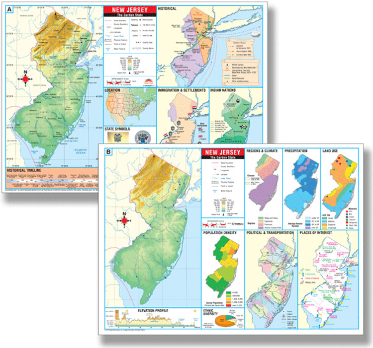 New Jersey Thematic Deskpad Map from Kappa Maps
