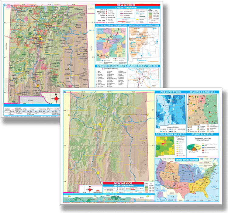 New Mexico Thematic Deskpad Map from Kappa Maps