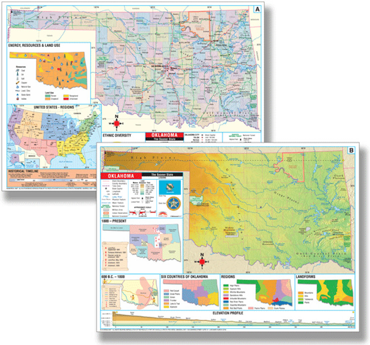 Oklahoma Thematic Deskpad Map from Kappa Maps