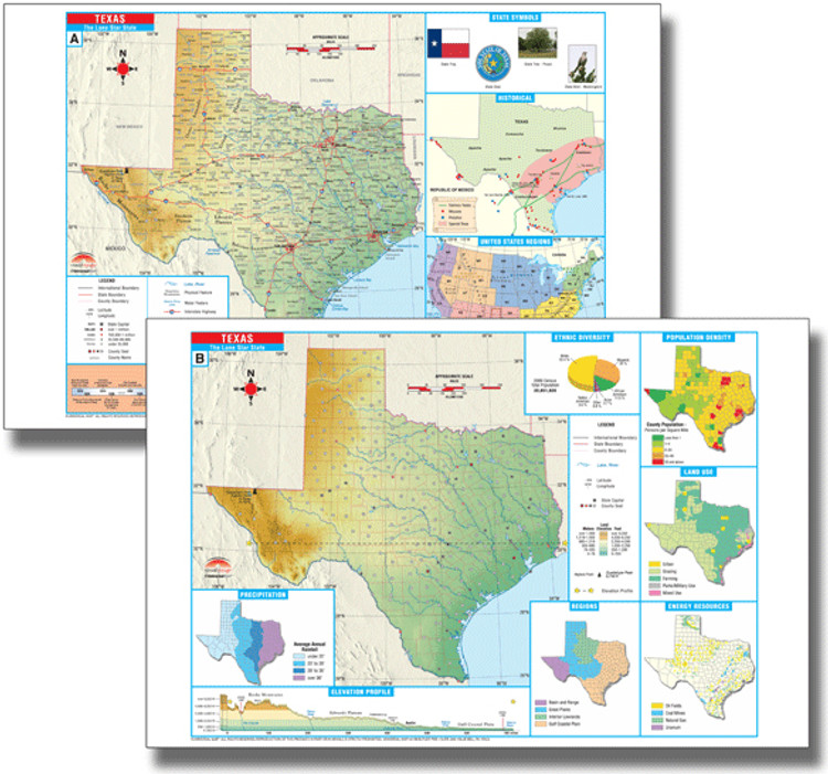 Texas Thematic Deskpad Map from Kappa Maps