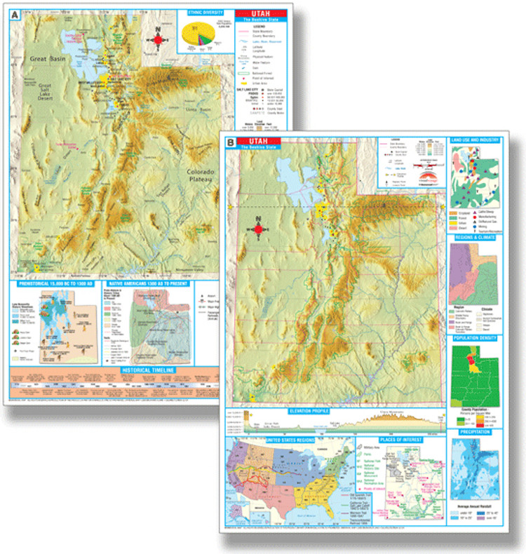 Utah Thematic Deskpad Map from Kappa Maps