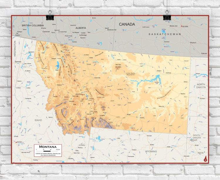 Montana Physical State Wall Map