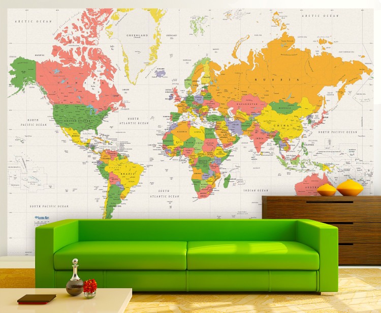 White Oceans Mercator World Political Map Wall Mural - Removable Wallpaper