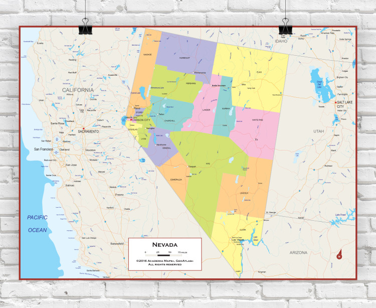 Nevada Political State Wall Map