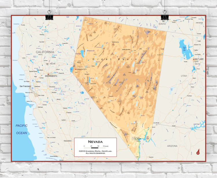 Nevada Physical State Wall Map