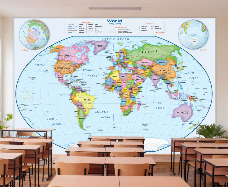 Primary Learning Classroom World Map Removable Wallpaper Mural