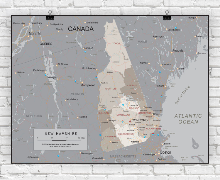 New Hampshire Executive State Wall Map