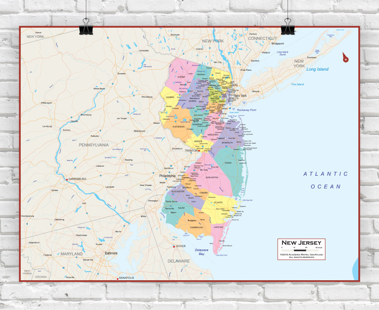 New Jersey Political State Wall Map