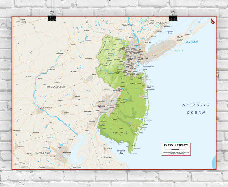 New Jersey Physical State Wall Map