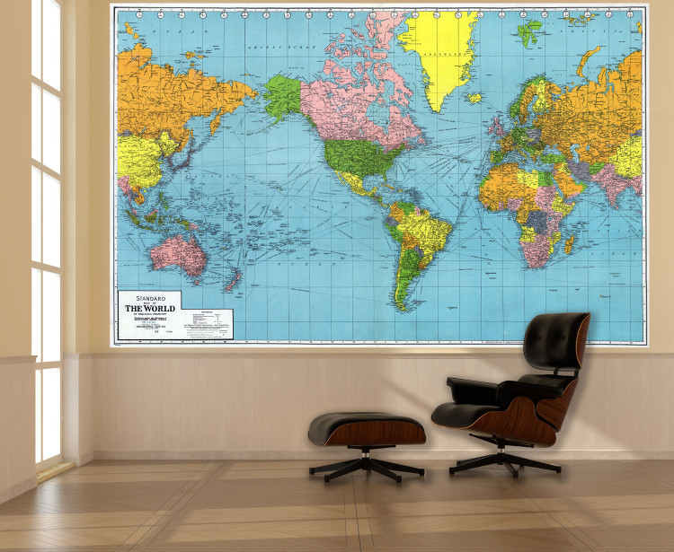 Vintage 1942 World Map  Removable Wallpaper Mural