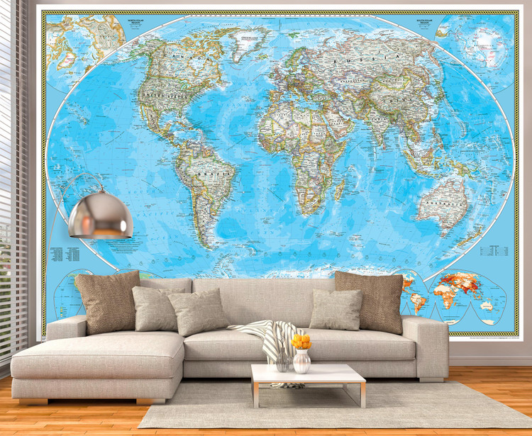 National Geographic World Map Mural - Classic Blue Ocean Political
