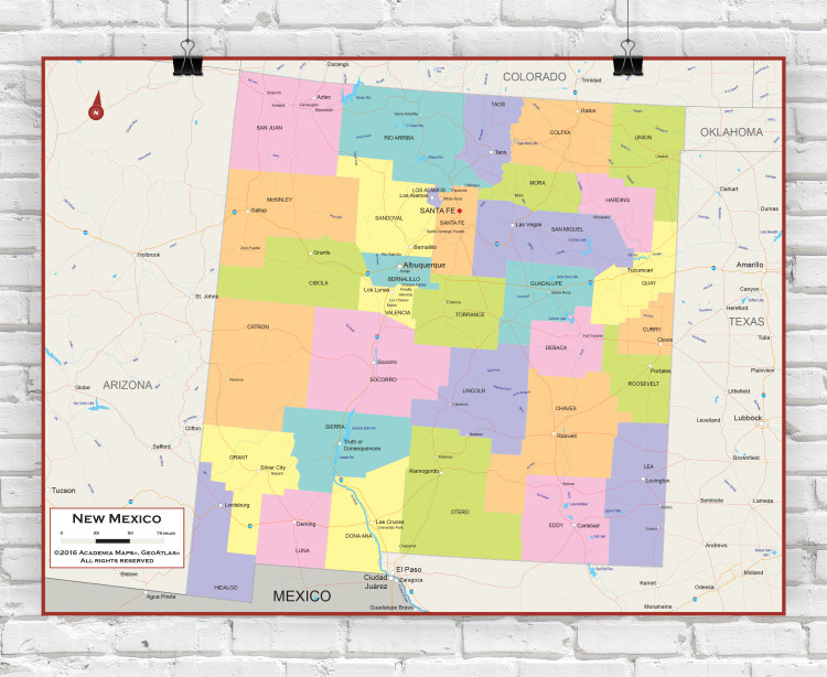 New Mexico Political State Wall Map