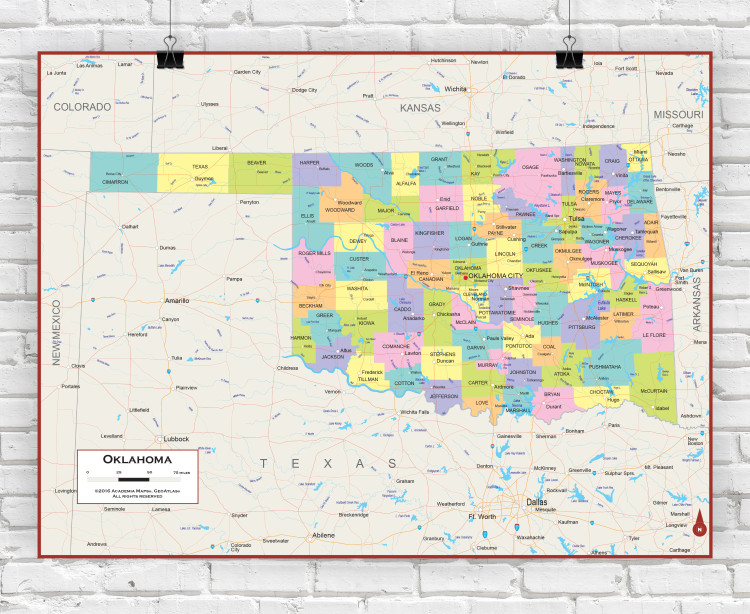 Oklahoma Political State Wall Map