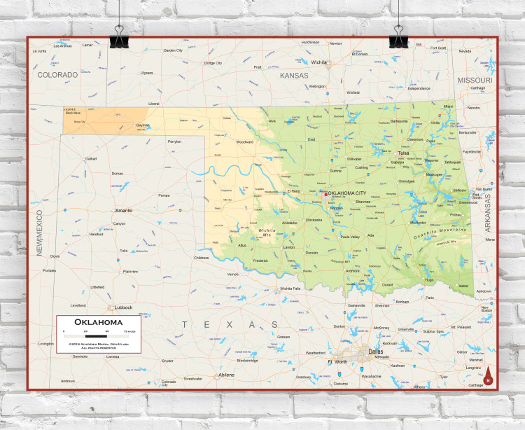Oklahoma Physical State Wall Map