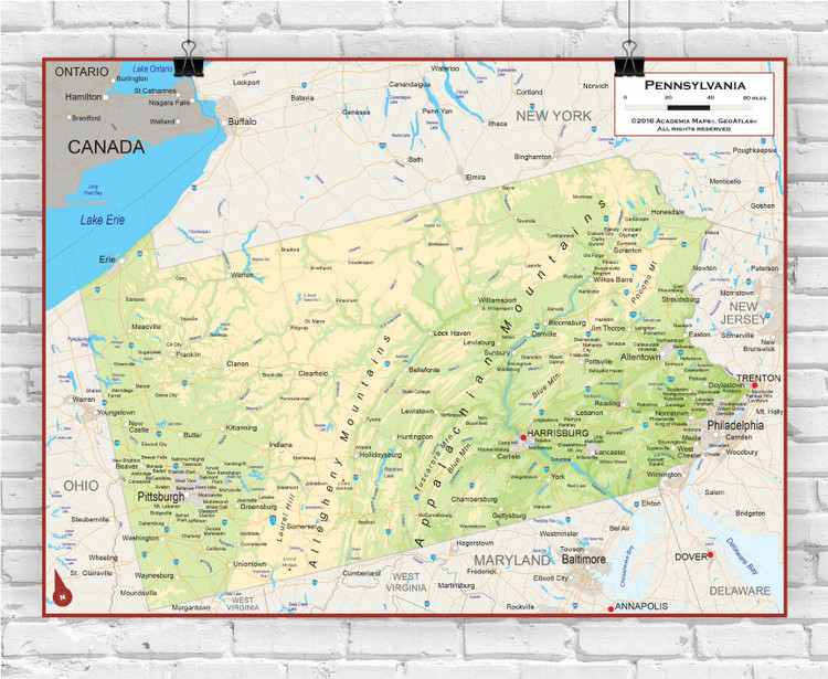 Pennsylvania Physical State Wall Map