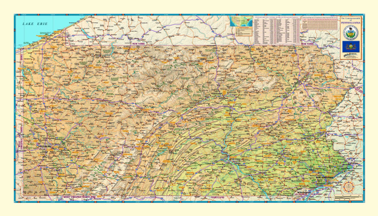 Pennsylvania Physical Map from Compart