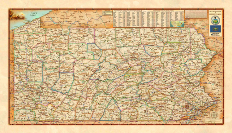 Pennsylvania Antique Style Political Wall Map from Compart