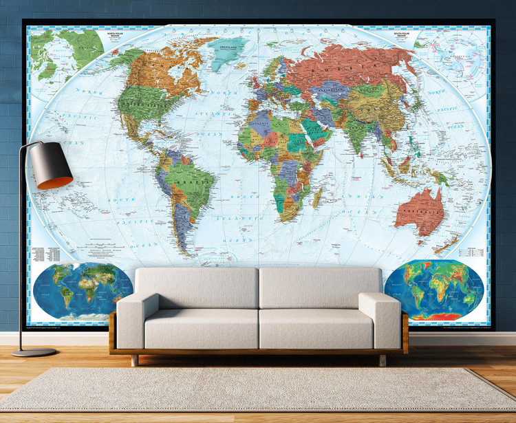 National Geographic World Map Mural - Decorator Series