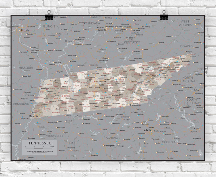 Tennessee Executive State Wall Map