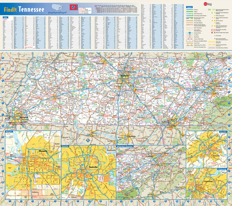 Tennessee Reference Wall Map