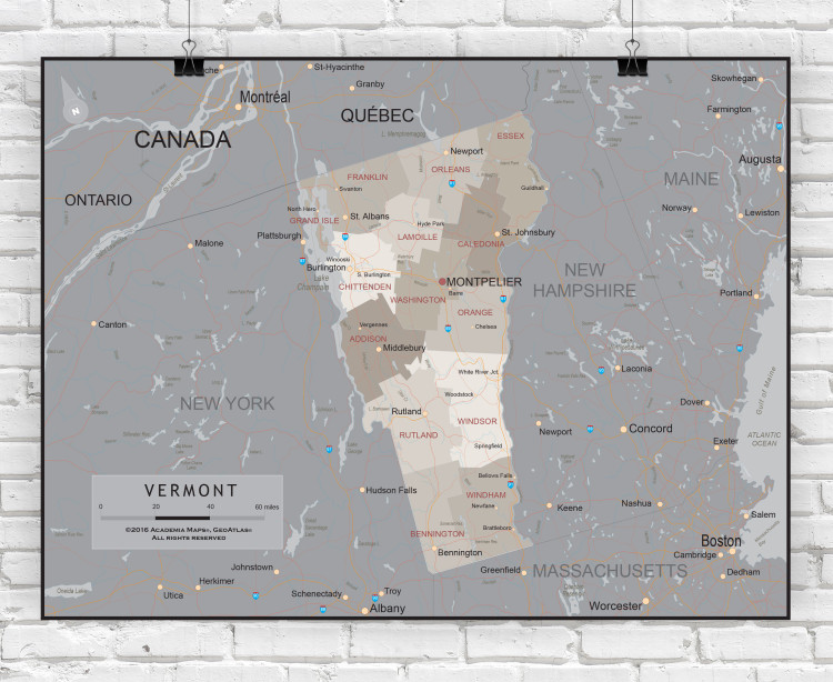 Vermont Executive State Wall Map